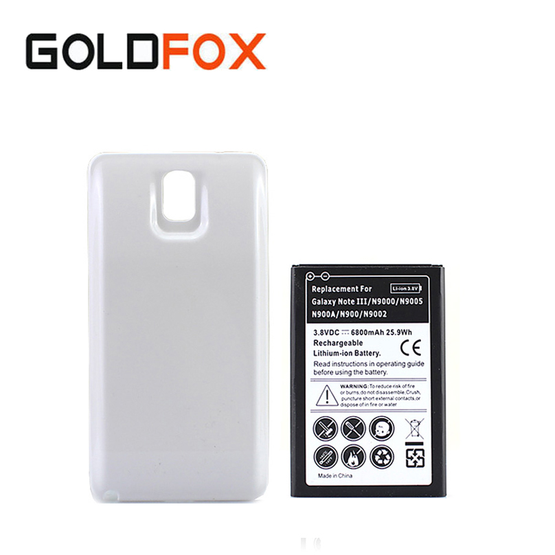 High Capacity 6800mAh Extended Phone Batteria For Samsung Galaxy Note 3 N9000 N9005 N900A N9002 Battery + White Back Cover Case