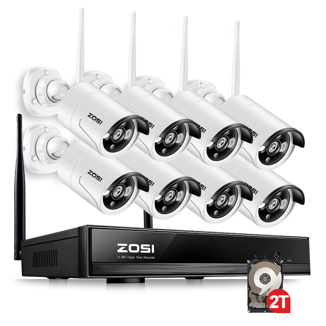 ZOSI 8 Channel 1080p Wifi NVR 2TB HDD with 2MP Waterproof IR Bullet Wireless IP HD Camera CCTV System NVR kit