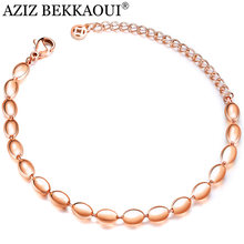 AZIZ BEKKAOUI Simple Bracelet High Quality Fashion Charm Bracelets Famous Rose Gold Beads Brand Bracelet for Woman Jewelry(China)