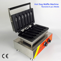 Commercial Corn Hot Dog Waffle Machine Stainless Steel Sausage Lolly Waffle Maker 6 Molds 220V/110V 1500W
