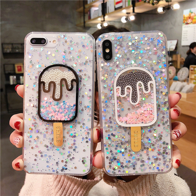 Kawaii Ice Cream Glitter Phone Case for iPhone