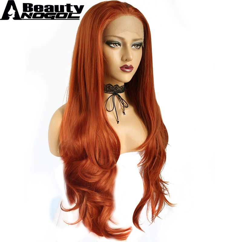 ANOGOL BEAUTY High Temperature Fiber Perruque Orange Wigs Long Natural Wave Copper Red Synthetic Lace Front Wig For Drag Queen ...