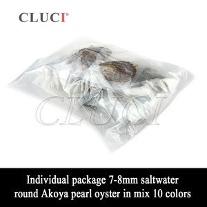 Image 2 - CLUCI 100pcs 7 8 มม.Akoya ผสม 10 สีน้ำเค็ม Pearl Oyster สายรุ้งหอยนางรม Akoya ไข่มุก WP309SB