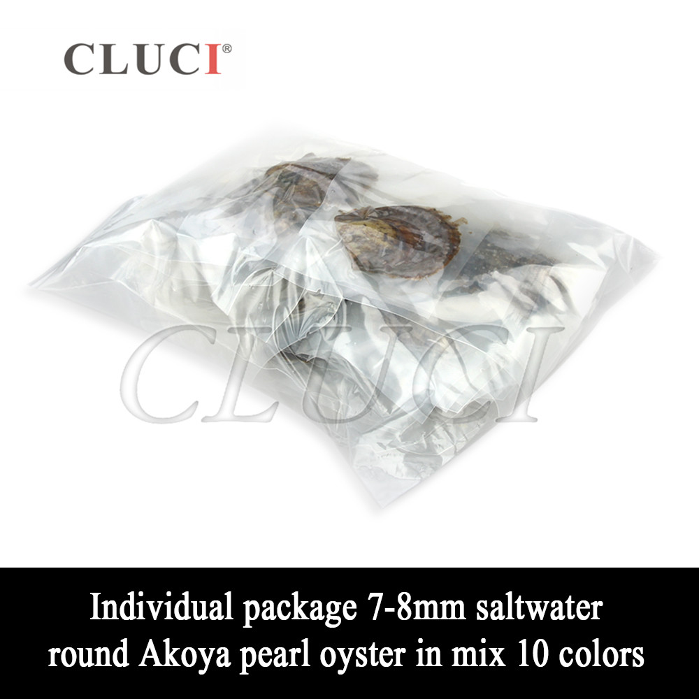 CLUCI 100pcs 7-8mm Akoya Mixed 10 Colors Saltwater Pearl Oyster  Quality Rainbow Oysters with Akoya Pearls