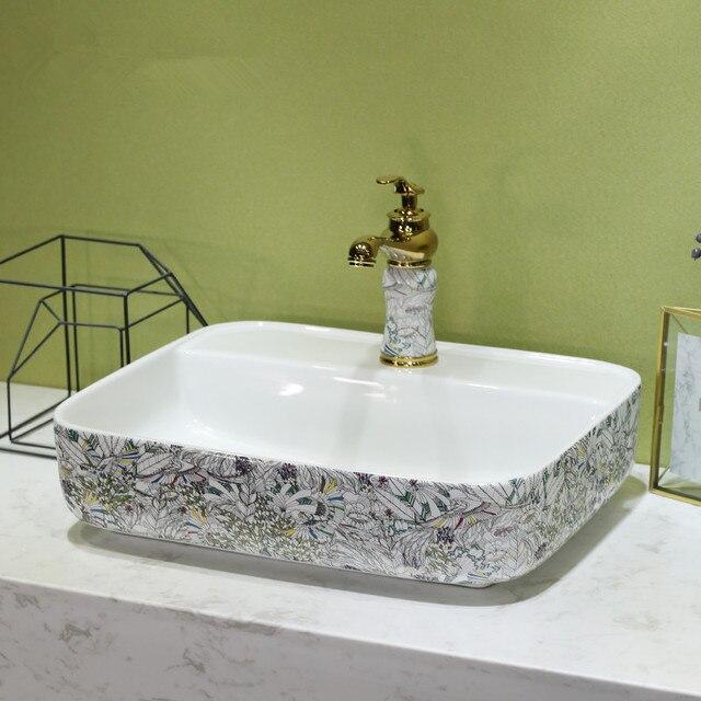 China Künstlerische Europa Stil Zähler Top porzellan waschbecken ...