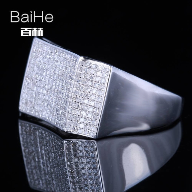 BAIHE Sterling Silver 925 1CT Certified H/SI Round Cut 100% Genuine Natural Diamonds Engagement Men Classic Fine Jewelry Ring