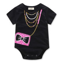 Newborn Baby Clothes Cute Short Sleeve Cotton Baby Rompers Girl Boy Black Jumpsuit Clothing Roupas Bag Printed Infantil Costumes