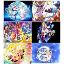 5d Diy Алмазная вышивка, вышивка крестиком, принцесса Сейлор Мун, алмазная вышивка, стразы, мозаика, квадратный круглый декор для девочек JS4686