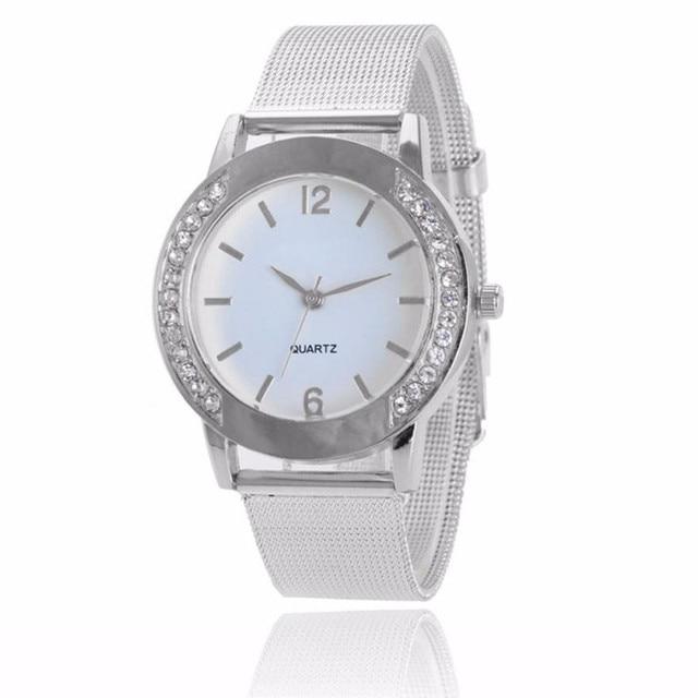 Women Watch Crystal Stainless Steel Buckle Casual Silver Quartz Lady Wrist Watch