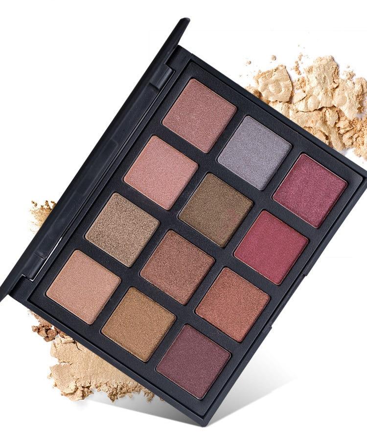 12 Colors Shimmer Nature Glow Eyeshadow Palette Makeup Cosmetics Earth Nude Eye Shadow powder Waterproof Makeup Set 612#