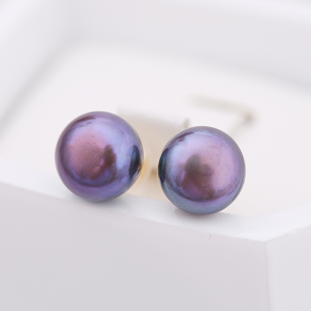 DAIMI 18k Pearl Earrings Studs Earring Freshwater Pearl Pure 18k Yellow Gold Earrings White/Pink/Purple/Gold/Black Brand Jewelry