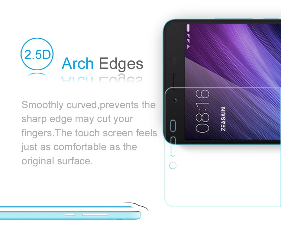 [2 Pack]Original ZEASAIN Premium Tempered Glass Film For Xiaomi Redmi Note 2 Note2 Screen Protector Protection safety Glasses  (1)