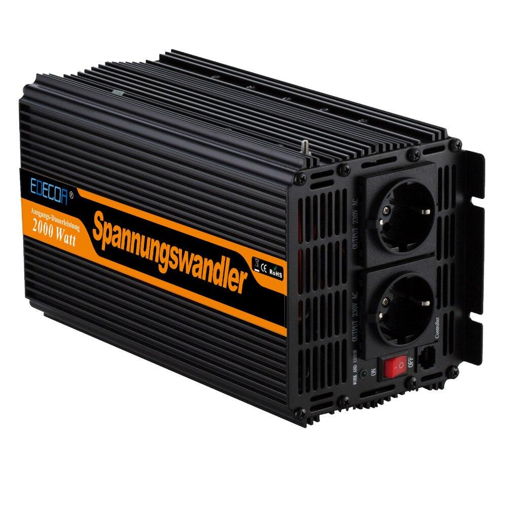 Inversor de energia 2000 w/4000 watts dc 24 v ac 230 v modificado inversor de onda senoidal fora da rede inversor fonte de alimentação solar