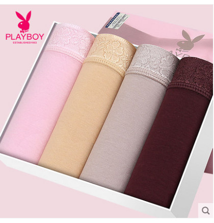 Playboy Panties Women's Silk Solid Lace Side-Waist Thin Sexy Triangle Sports Summer