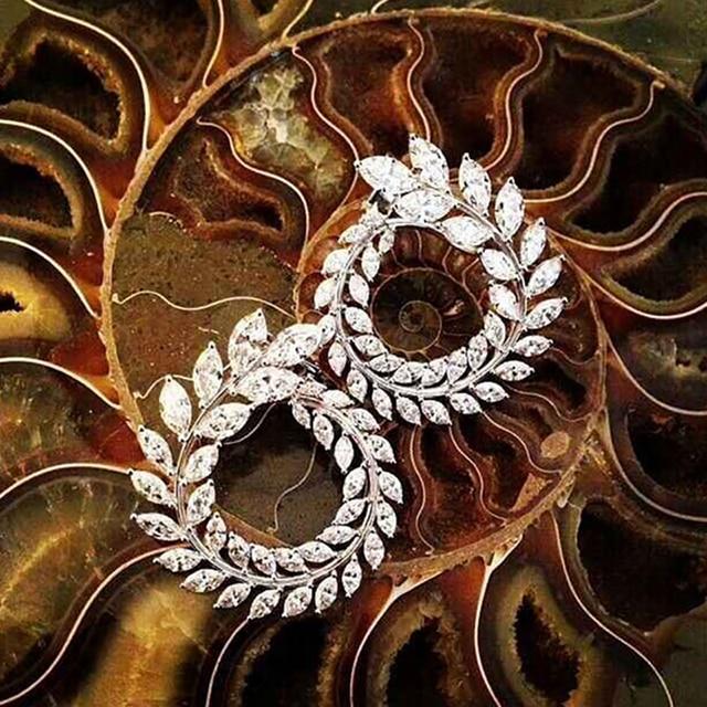 Luxury Brand New Fashion Olive Shape AAA+ Cubic Zircon Stud Earrings Branch Crystal Earings For Women Party Boucle d'oreille 119