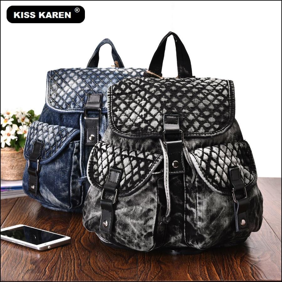 KISS KAREN Fashion Denim Bags Women Backpack Jeans Women's Backpacks Casual Daypacks Teenager Backpacks Black/Blue women casual jeans blue black gray stripe skinny jeans women fashion pants