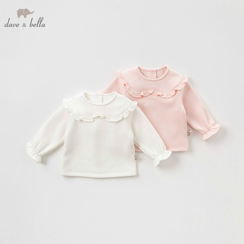 DBM8190 dave bella baby girls autumn infant baby fashion t-shirt toddler top children high quality tees lovely clothes db5884 dave bella autumn infant baby girls fashion t shirt kids 100% cotton lovely tops children high quality tee