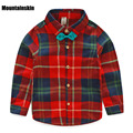 New Boys Plaid Tie Shirts Baby Long Sleeve Dress Spring 1-7Y Children's Cotton Tops Gentleman Comfortable School Clothes SC754