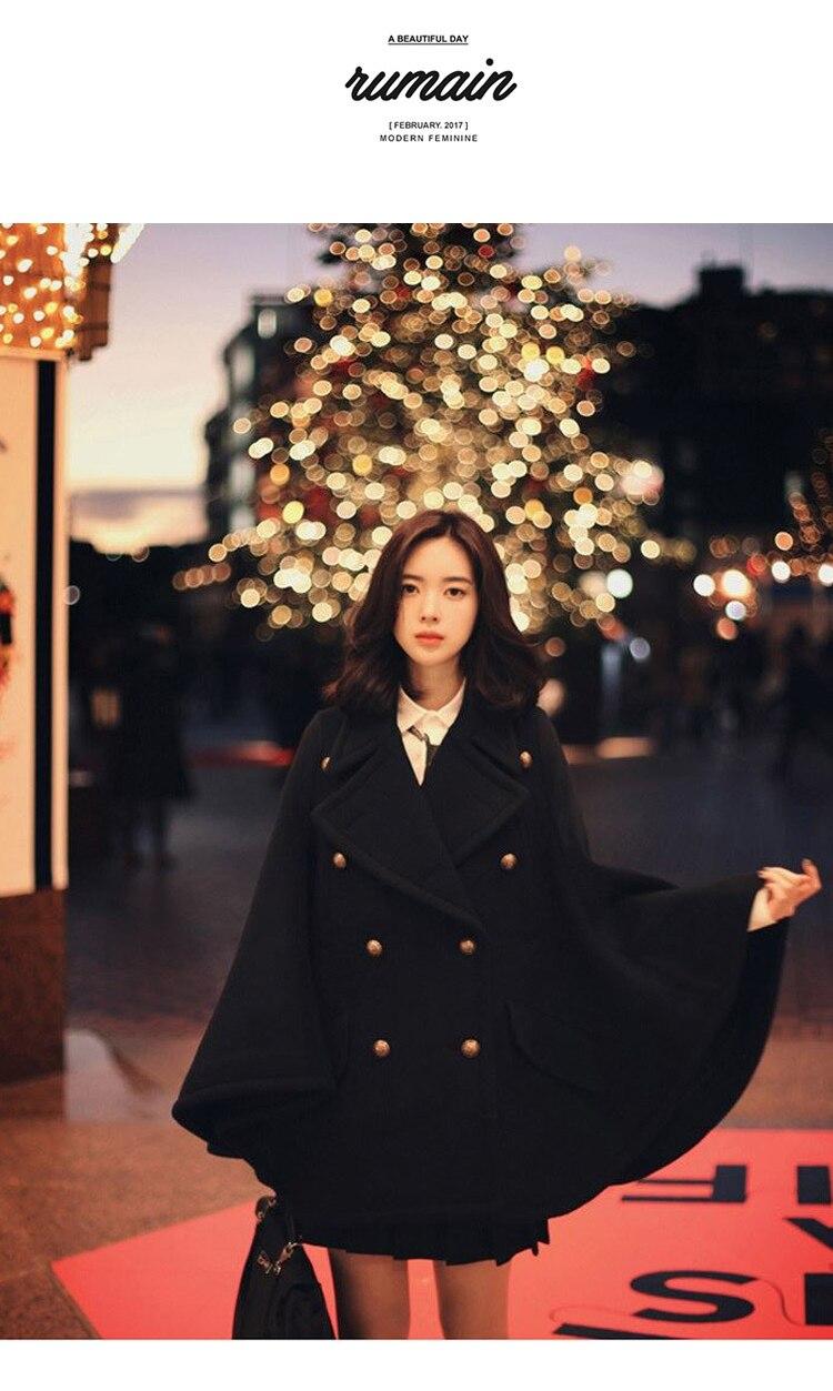 HAMALIEL женский плащ накидка черное шерстяное пальто модное зимнее шерстяное твидовое пончо с рукавом летучая мышь повседневное свободное плотное шерстяное пальто