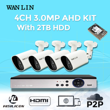 WANLIN CCTV System 4CH 4MP AHD DVR Kit with 4Pcs 1536P 3.0MP AHD Video Surveillance Camera 40Meter NightVision Security System
