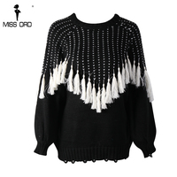 Missord 2017 Autumn And Winter Fashion O Neck Long Sleeve Tassel Sweater FT8619