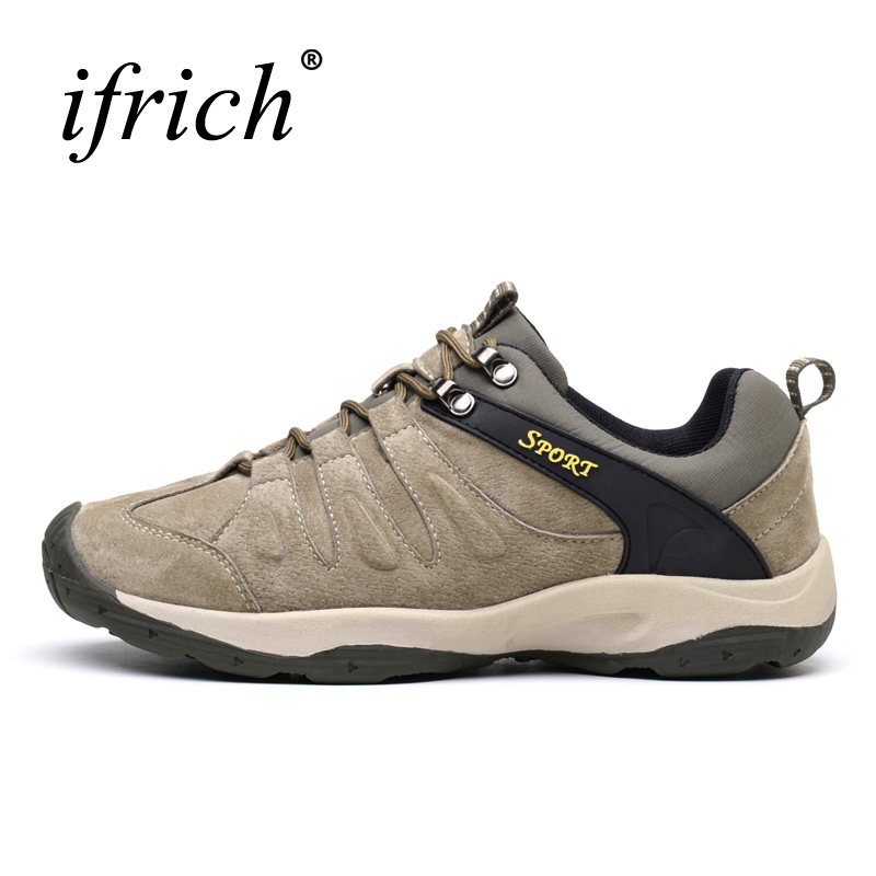 2019 Outdoor Men Shoes Mountain Waterproof Men Hiking Outdoor Shoes Leather Mens Walking Trainers Wearable Mens