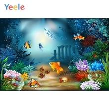 Yeele Vinyl  Cartoon Seabed Mermaid Shark Birthday Party Photography Backdrop Children Boy Photographic Background Photo Studio