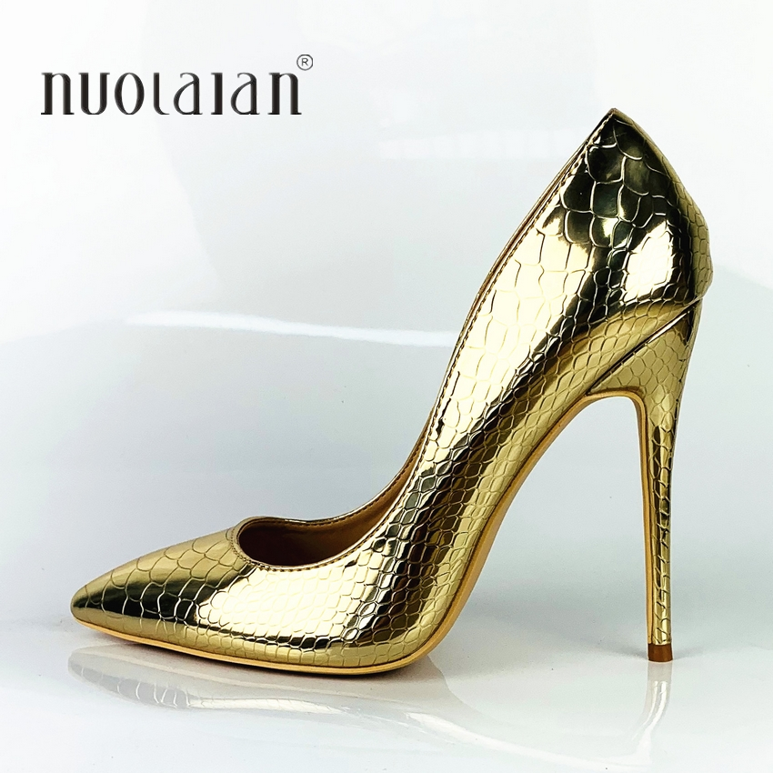 High Heels Shoes Women Pumps Gold Snake Printing Woman Shoes Sexy Pointed Toe Wedding Party Shoes Stilettos 12/10/8cm Heels