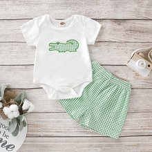 2019 2 PECS new Newborn Baby Girls Clothes Playsuit Romper Tops+Plaid Shorts Suits Outfit Set