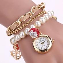 Lvpai 2016 New Fashion Trend Watches Girls Gown Luxurious Pearl Bracelet Wristwatch Digital Fashion Girls Wristwatch Clock Watch