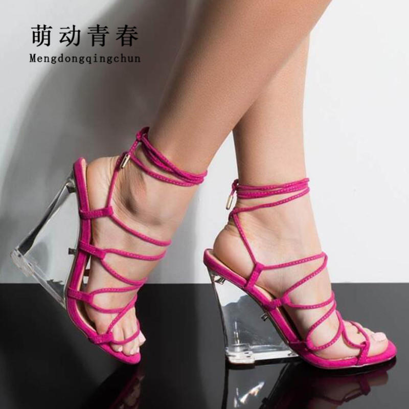2019 New Summer Women Sandals <font><b>Sexy</b></font> Crystal Heels Lace Up Summer Wedges Pumps Hollow Out Bandage Ankle Strap Party Women Sandals image