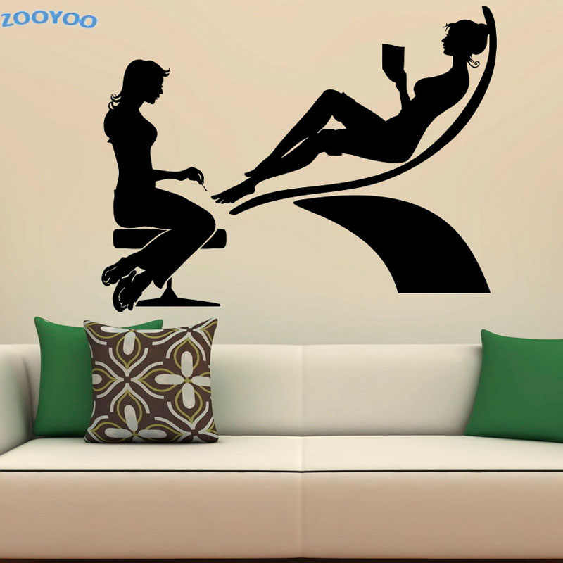 ZOOYOO Spa Beauty Salon Wall Decals Vinyl Fashion Wall Sticker Home Decor Pedicure Wall Stickers Vinyl Art Murals Decoration