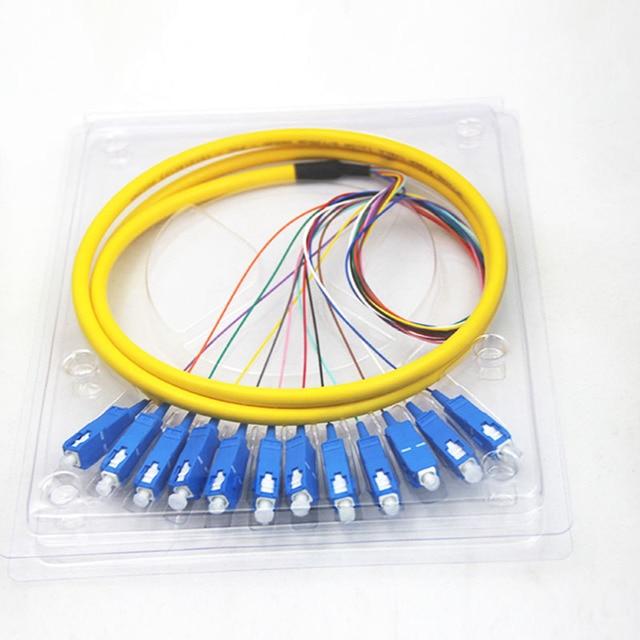 12 нитей 9/125 волоконно оптический свиной хвост 1,5 м SC/UPC одиночный режим