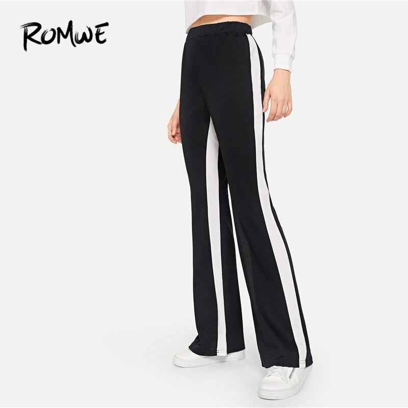 ROMWE Elastic Waist   Wide     Leg     Pants   2019 Basic Korean Style Autumn Long   Pants   Fitness Women Black Fashion Mid Waist Trousers