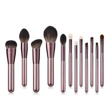 12 Makeup Brush Small Grape Professional Set Wool Champagne Gold Foundation Wooden Handle