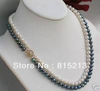 FREE SHIPPING N178 2 Rows 7 8mm Black White Freshwater Pearl Necklace 17 18