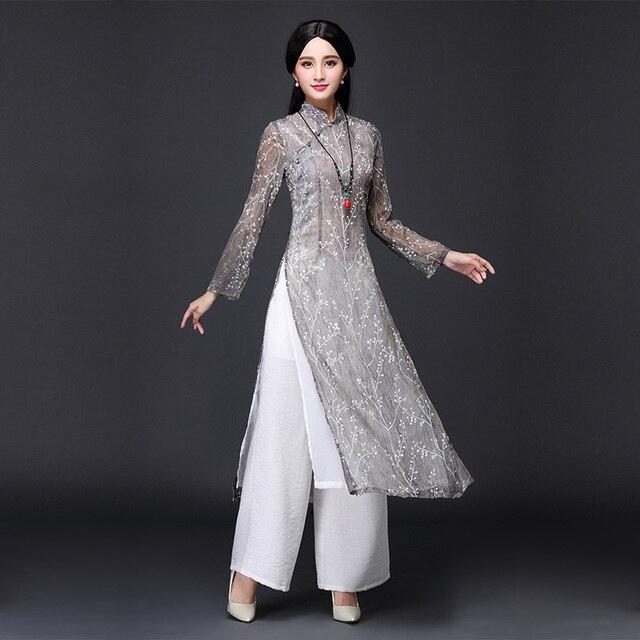 2019 new ao dai red style ao dai vintage ethnic aodai long sleeve qipao women silk long cheongsams dress for party