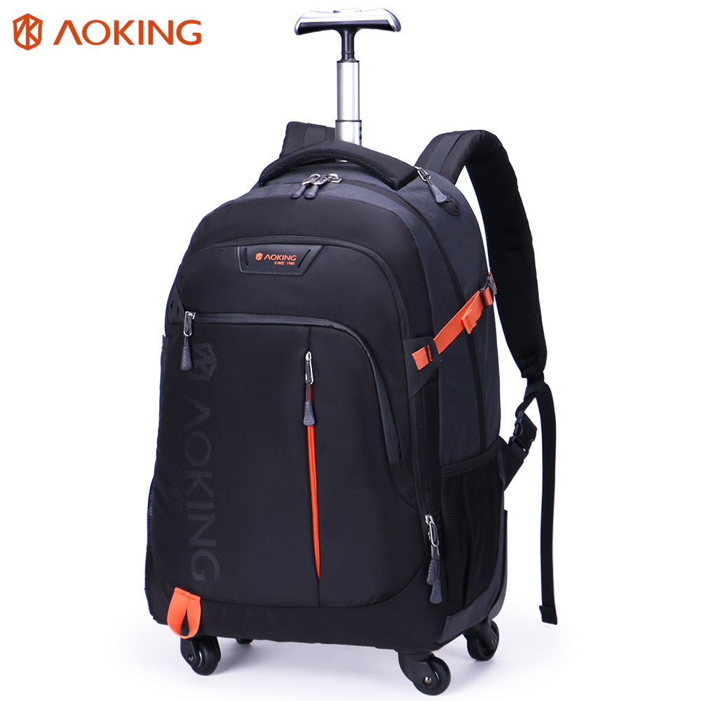Aoking High Quality Waterproof Travel Trolley Backpack Luggage Wheeled Carry ons Bags Large Capacity Trolley Bags