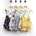 Feitong Mulheres Verão Blusa Sexy Spaghetti Strap Regatas Camisa Floral Impressão Chiffon Curto Colete Topos de Culturas blusas feminina 2017