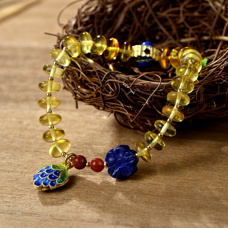 Starfield HMade Models Natural Amber Beaded Inlaid Cloisonne Bracelet Direct Supply Wholesale starfield pure string beads beads bracelets tassels roasted blue flower accessories amber beaded bracelet factory wholesale