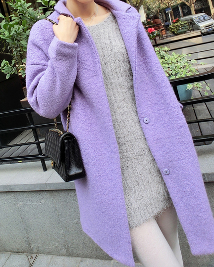 Fashion lavender purple wool overcoat medium long circle wool coat ...