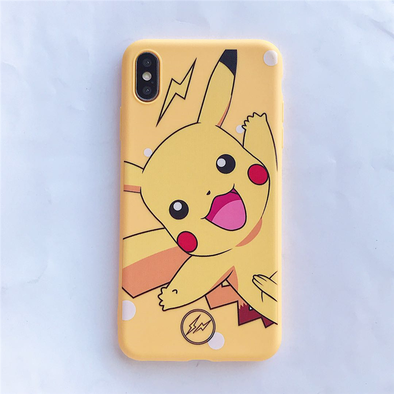 QIKEFANG Cartoon Cute Pokemon Pika Cases Cover For iPhone X XR XS Max 6 6 s 7 8 Plus Yellow Pikachu type digital Soft TPU Case in Fitted Cases from Cellphones Telecommunications