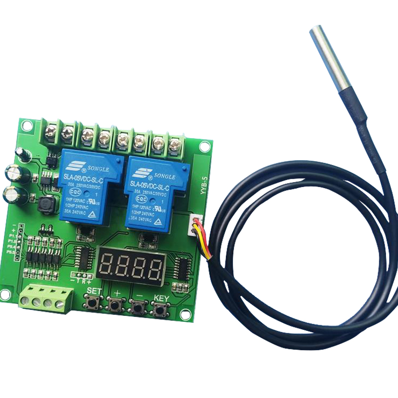 Temperature Controlled Two/Dual Relay Switch Module DS18B20 Temperature Controlled Motor CW/CCW DC12/24 v ds18b20 temperature sensor module blue