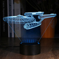 3D Illusion Star Trek Battleship LED Night Light Romantic Atmosphere Multi-colored Change Touch Botton Desk Lamp