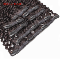 Mogul Hair Clip In Human Hair Extensions Afro Kinky Curly Human Hair 1 Set 7Pcs/set Natural Color Brazilian Remy Hair 14 24 inch