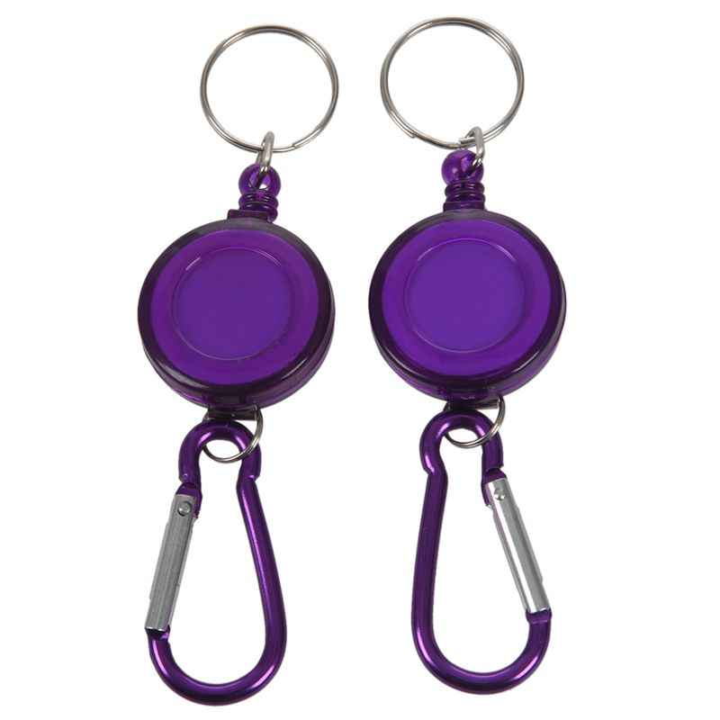 2 PCS BADGE REEL - RETRACTABLE RECOIL YOYO SKI PASS ID CARD HOLDER KEY CHAIN Color:Purple Amount:2Pcs