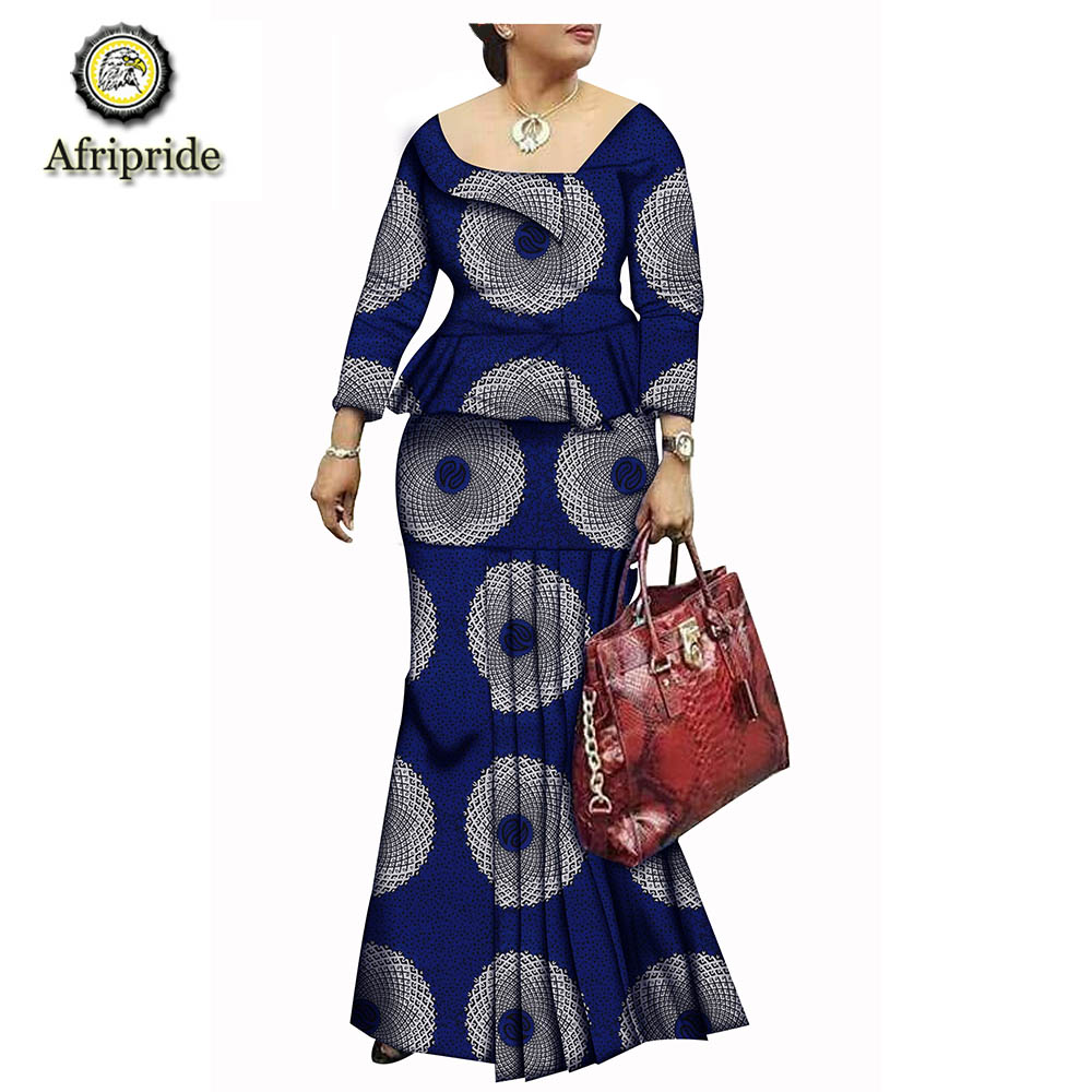 2019 African Dresses For Women AFRIPRIDE Bazin Riche Ankara Print Dashiki Pure Cotton Dress  Wax Batik Private Custom  S1825074