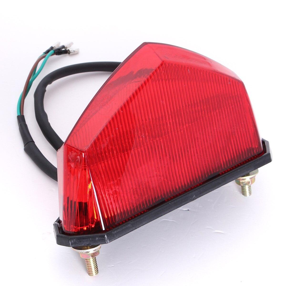 Prix pour 12 V 3 Câblage Universel 10 Led Rouge Moto Dirt Bike Plaque Lampe Arrière Queue De Frein Lumière