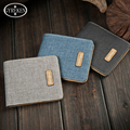 New Stylish designer's men's short wallet brand canvas wallet korean top purse student card purse Vertical Wallet ZC060