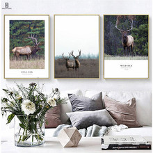 Nordic Lovely Style Canvas Decorative Paintings Of The Combination Pictures Of The Deer Black English Letters For Home Decors